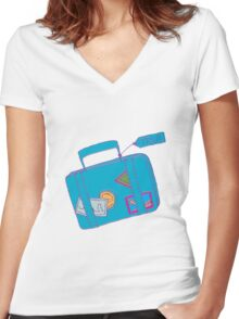 Travel Luggage Women's Fitted V-Neck T-Shirt