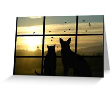 Dog and Cat Looking Out Window Greeting Card