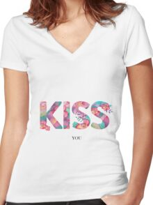 Flowers kiss Women's Fitted V-Neck T-Shirt