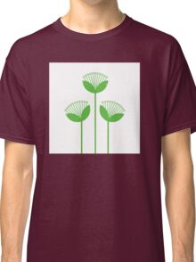 Beautiful simple Flowers line art: green + white Classic T-Shirt