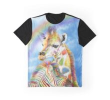 Rainbow Giraffe And Zebra Graphic T-Shirt