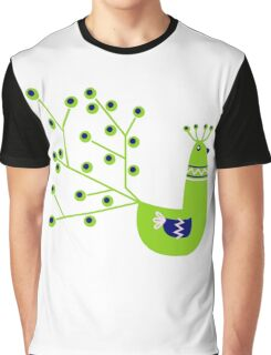 Vibrant Peacock character. Green & Blue Graphic T-Shirt