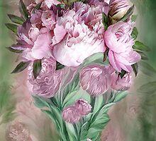 Pink Peonies In Peony Vase by Carol  Cavalaris
