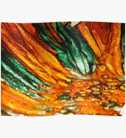 Abstract Orange and Green Poster