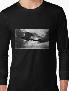 Early Airplane Flight - Backlit Long Sleeve T-Shirt