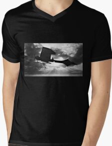 Early Airplane Flight - Backlit Mens V-Neck T-Shirt