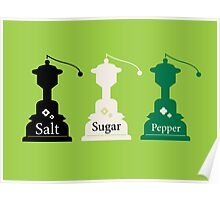 Beautiful colorful Salt, Sugar and Pepper set Poster