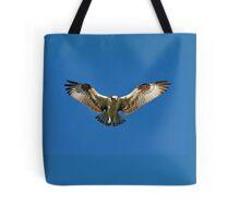 Osprey hunts for dinner Tote Bag