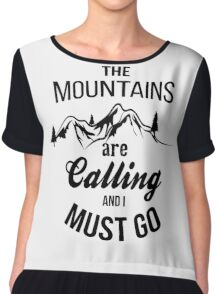 typograph Mountains are calling Chiffon Top