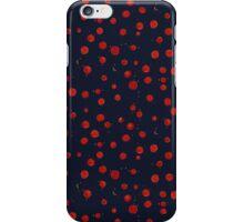 Painted red berries on dark blue pattern iPhone Case/Skin