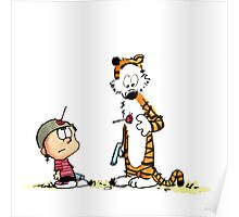 Calvin And Hobbes playing Poster