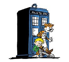 calvin and hobbes police box in action Photographic Print