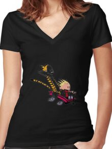 calvin and hobbes speed Women's Fitted V-Neck T-Shirt