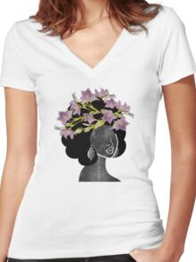 Wildflower Crown II Women's Fitted V-Neck T-Shirt