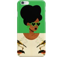 Green Glasses Postcard Girl iPhone Case/Skin