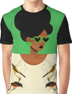 Green Glasses Postcard Girl Graphic T-Shirt