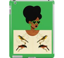 Green Glasses Postcard Girl iPad Case/Skin