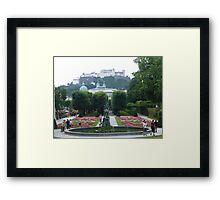 Mirabell Gardens & Hohensalzburg Castle in Salzburg, Austria Framed Print