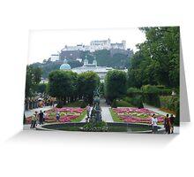 Mirabell Gardens & Hohensalzburg Castle in Salzburg, Austria Greeting Card