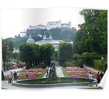 Mirabell Gardens & Hohensalzburg Castle in Salzburg, Austria Poster