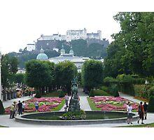 Mirabell Gardens & Hohensalzburg Castle in Salzburg, Austria Photographic Print