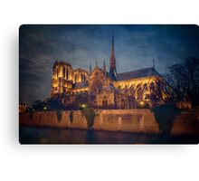 Notre Dame On The Seine Textured Canvas Print