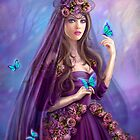 Beautiful woman fairy and blue butterflies.  by Alena Lazareva