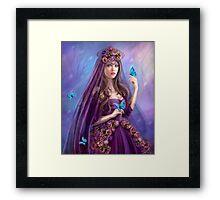 Beautiful woman fairy and blue butterflies.  Framed Print
