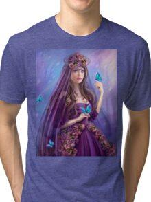 Beautiful woman fairy and blue butterflies.  Tri-blend T-Shirt