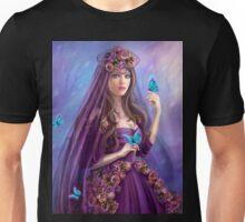 Beautiful woman fairy and blue butterflies.  Unisex T-Shirt