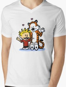 LOVEABLE CALVIN AND HOBBES : TSHIRT Mens V-Neck T-Shirt