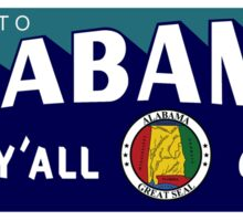 """Welcome to Alabama Y'All Come"", Vintage Road Sign 50s, USA Sticker"