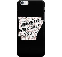 """""""Arkansas Welcomes You"""", Vintage Road Sign 50s, USA iPhone Case/Skin"""