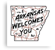 """Arkansas Welcomes You"", Vintage Road Sign 50s, USA Canvas Print"