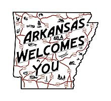 """Arkansas Welcomes You"", Vintage Road Sign 50s, USA Photographic Print"