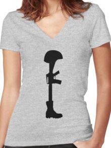 The Battle Field Cross Women's Fitted V-Neck T-Shirt