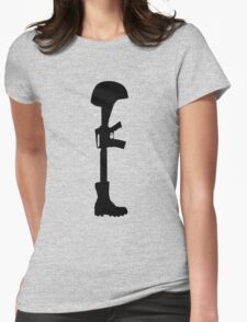 The Battle Field Cross Womens Fitted T-Shirt