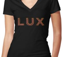 LUX Nightclub Logo Women's Fitted V-Neck T-Shirt