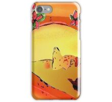 Desert Bridge Abstract with Flowers Orange Multi iPhone Case/Skin