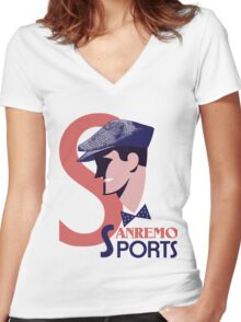Retro 1920s style Italian men's golf sports fashion advert Women's Fitted V-Neck T-Shirt