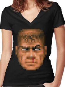 Doom Face 5 Women's Fitted V-Neck T-Shirt