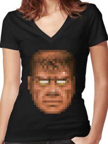 Doom Face 7 Women's Fitted V-Neck T-Shirt