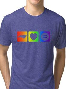 NC Loves Equality symbols--horizontal rainbow Tri-blend T-Shirt