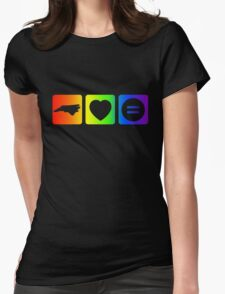 NC Loves Equality symbols--horizontal rainbow Womens Fitted T-Shirt