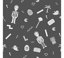 Pixel art 90's retro style grayscale design Photographic Print