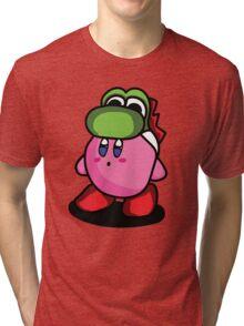 Kirby with Yoshi Hat Fanart Tri-blend T-Shirt