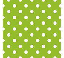 Beautiful Green Dots design - green + white Photographic Print
