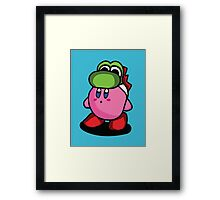 Kirby with Yoshi Hat Fanart Framed Print