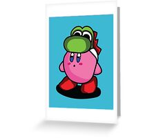 Kirby with Yoshi Hat Fanart Greeting Card