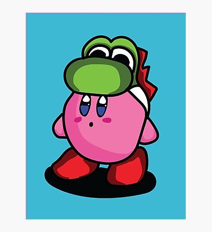 Kirby with Yoshi Hat Fanart Photographic Print